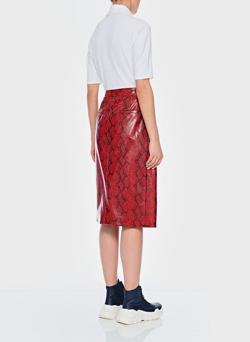 Python Croc Embossed Patent Skirt Red-3