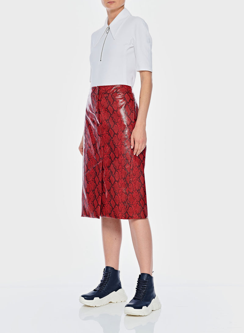 Python Croc Embossed Patent Skirt Red-4