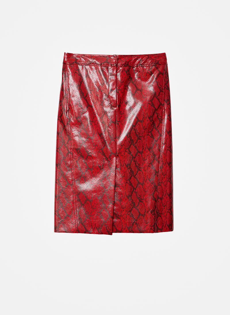 Python Croc Embossed Patent Skirt Red-8