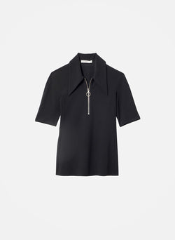 Structured Crepe Short Sleeve Zip-Up Top Black-12