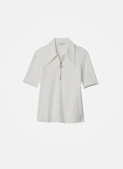 Structured Crepe Short Sleeve Zip-Up Top White-5