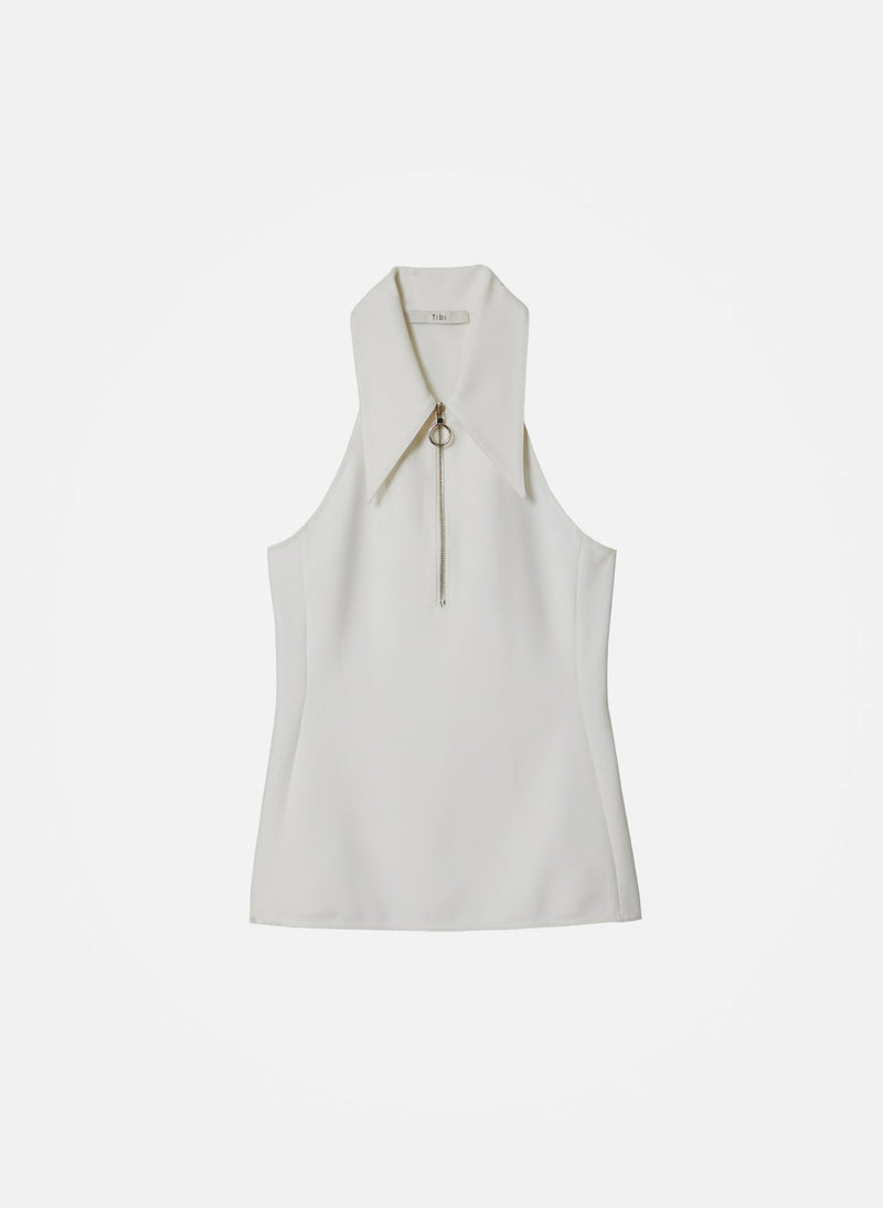 Structured Crepe Sleeveless Top White-13