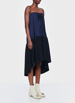 Sculpted Soft Drape Strapless Bias Dress Navy/Black Multi-11