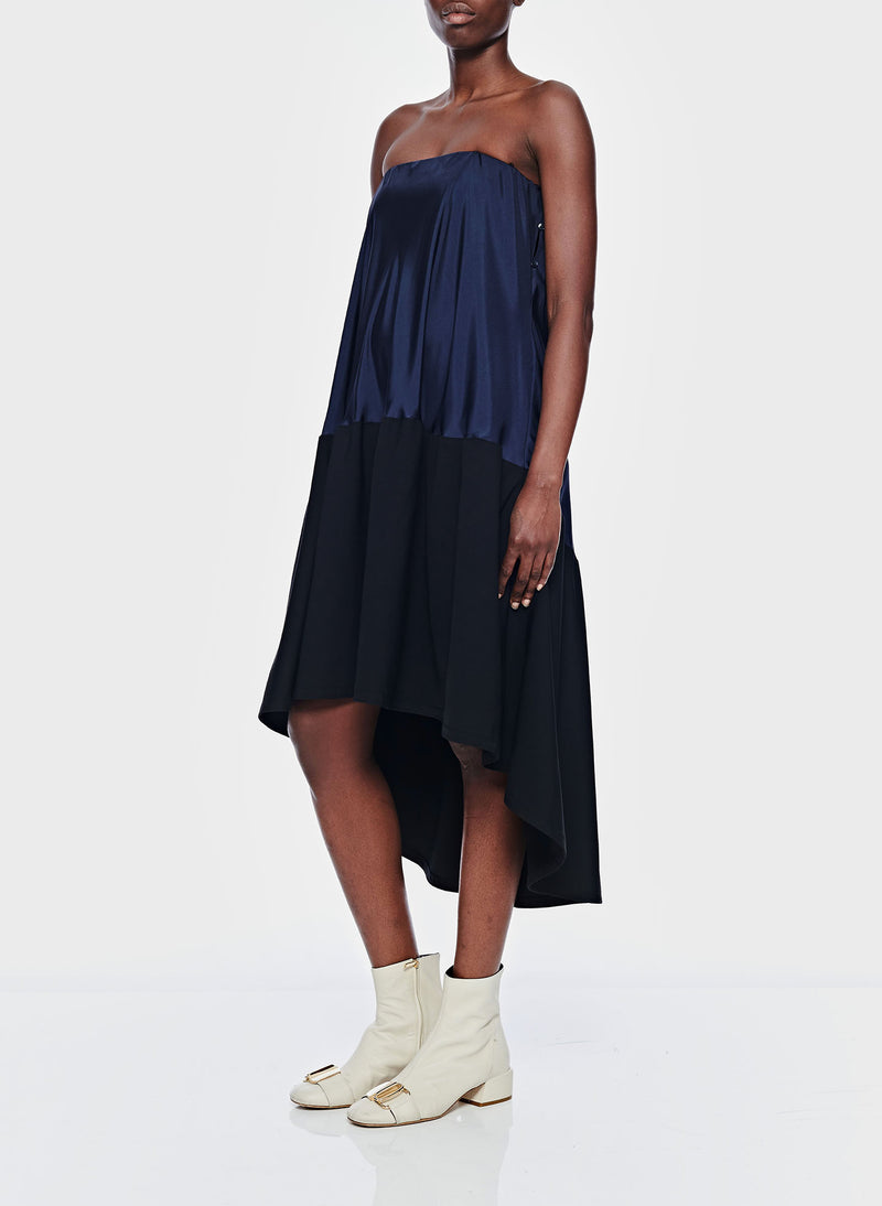 Sculpted Soft Drape Strapless Bias Dress Navy/Black Multi-13