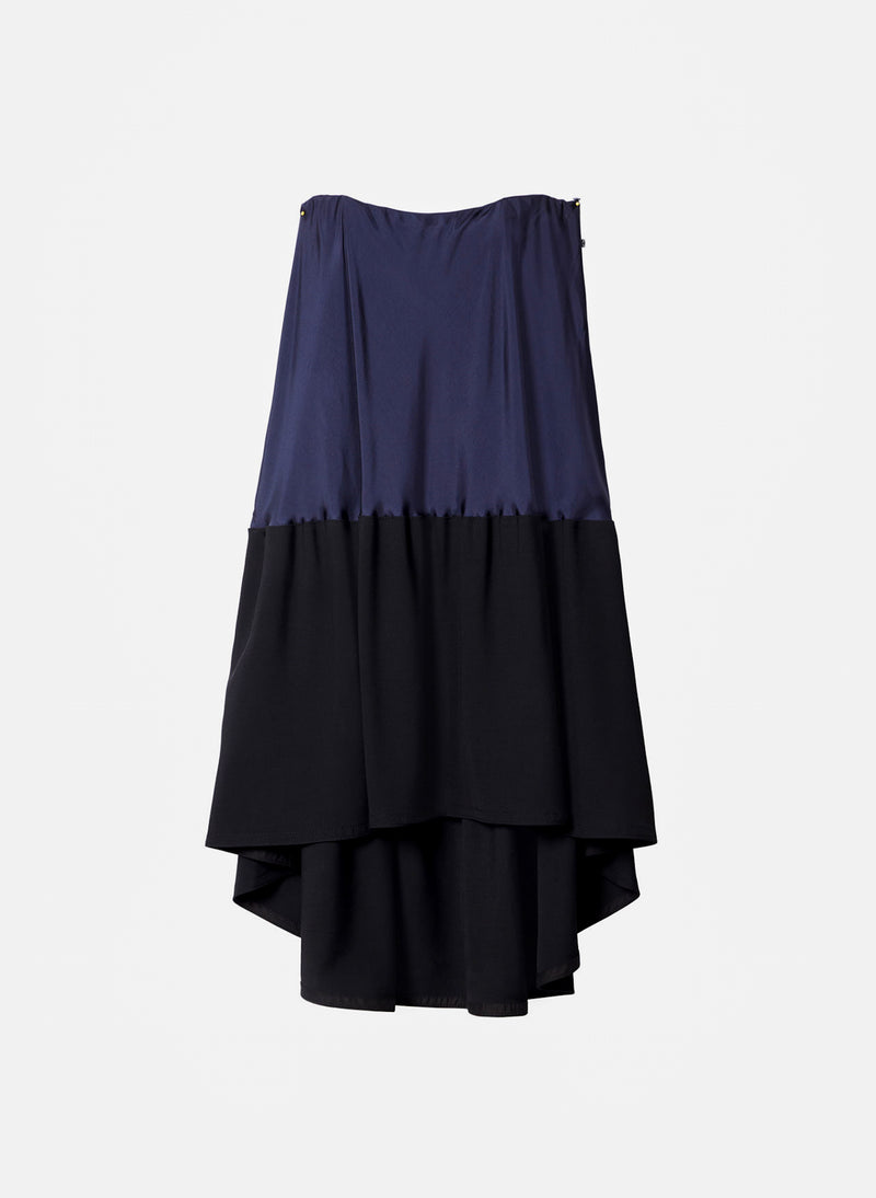 Sculpted Soft Drape Strapless Bias Dress Navy/Black Multi-10