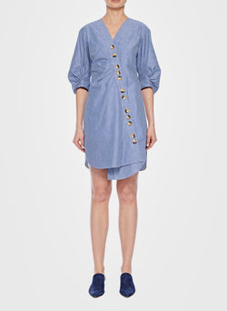 Stripe Asymmetrical Shirt Dress Blue Multi-1