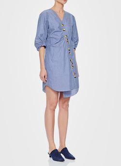 Stripe Asymmetrical Shirt Dress Blue Multi-2