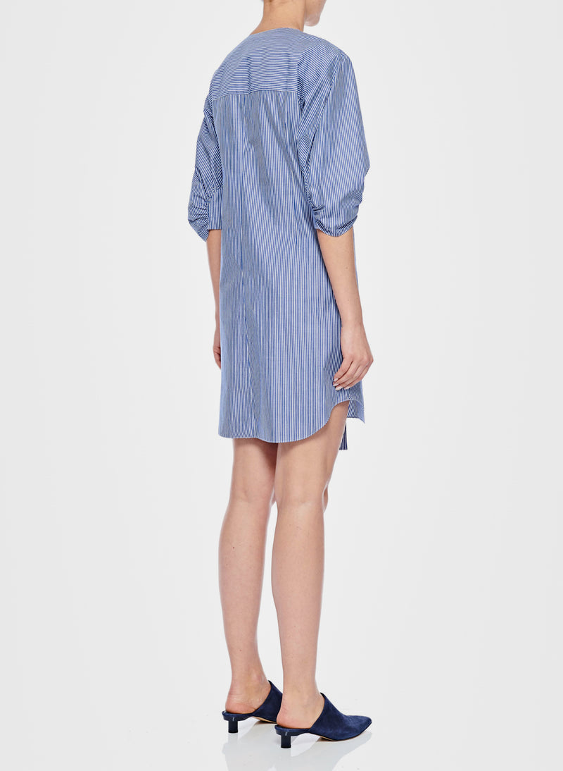 Stripe Asymmetrical Shirt Dress Blue Multi-3