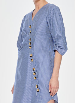 Stripe Asymmetrical Shirt Dress Blue Multi-4