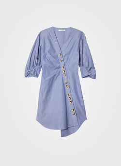 Stripe Asymmetrical Shirt Dress Blue Multi-6