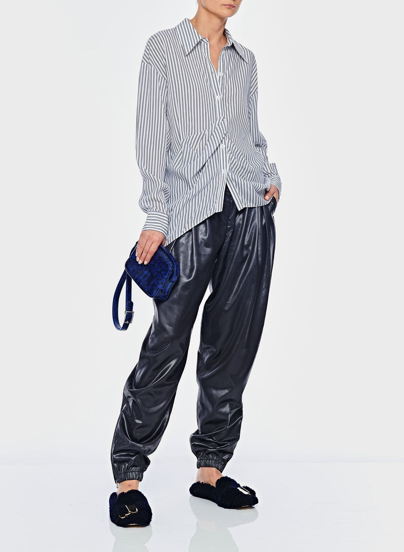 Soft Stripe Draped Shirt Blue Stripe Multi-5