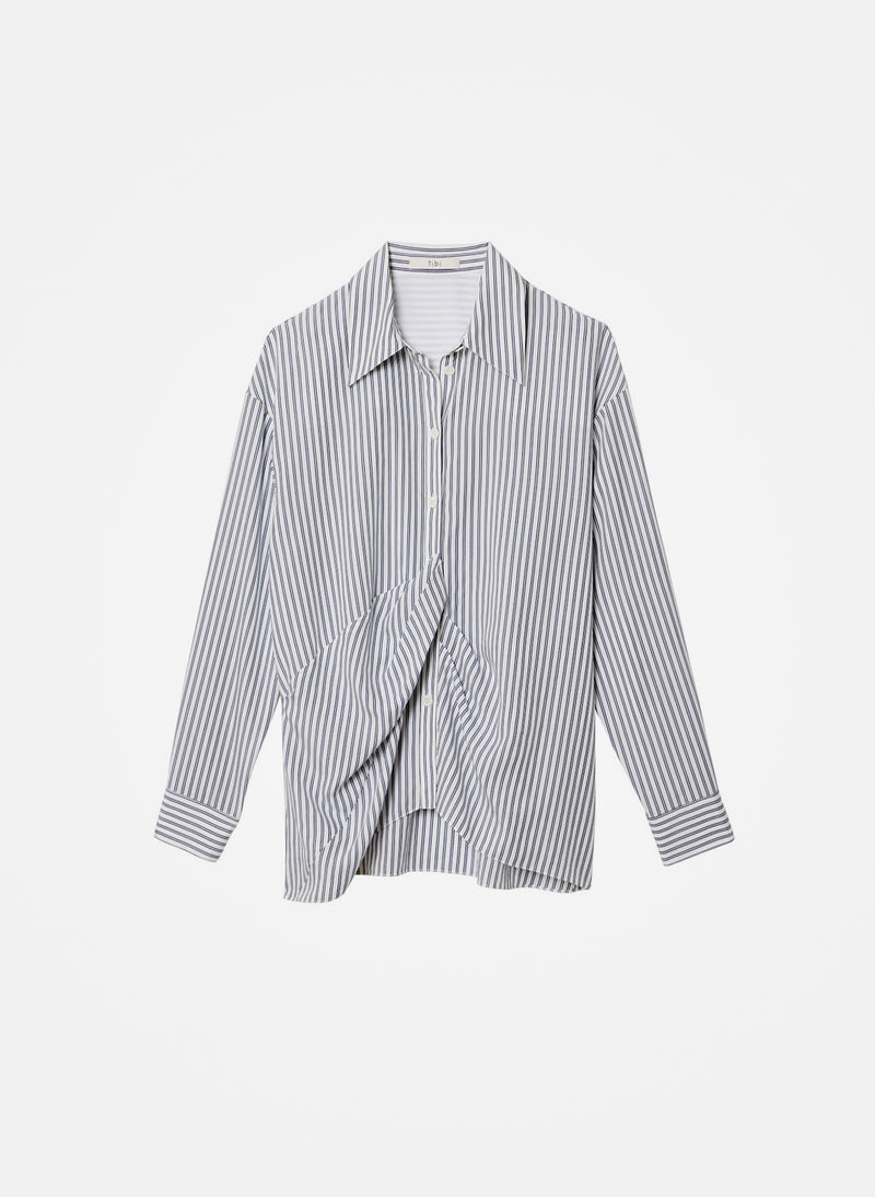 Soft Stripe Draped Shirt Blue Stripe Multi-2