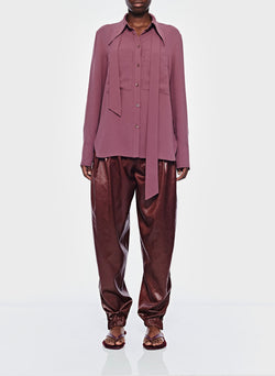 Lightweight Triacetate Blouse with Removable Tie Dusty Plum-1