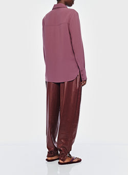 Lightweight Triacetate Blouse with Removable Tie Dusty Plum-4