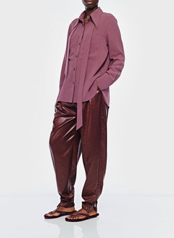 Lightweight Triacetate Blouse with Removable Tie Dusty Plum-5