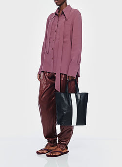 Lightweight Triacetate Blouse with Removable Tie Dusty Plum-6