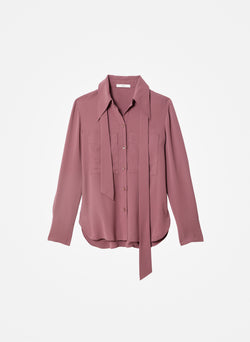 Lightweight Triacetate Blouse with Removable Tie Dusty Plum-7