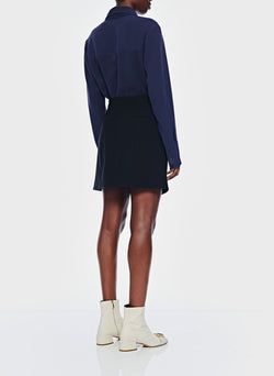 Lightweight Triacetate Blouse with Removable Tie Navy-12
