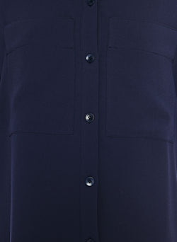 Lightweight Triacetate Blouse with Removable Tie Navy-14