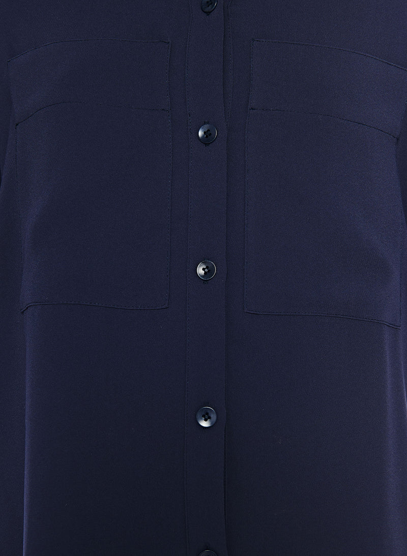 Lightweight Triacetate Blouse with Removable Tie Navy-11