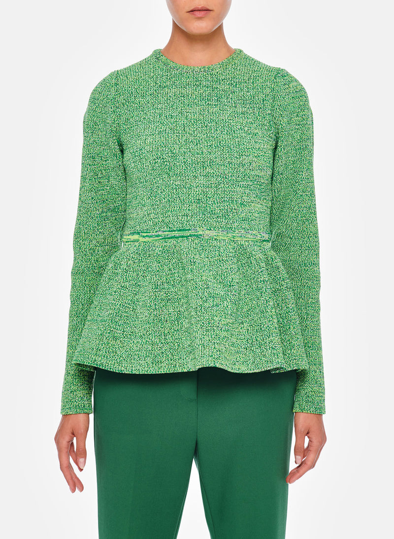 Tech Tweedy Sculpted Peplum Sweater Green Multi-9