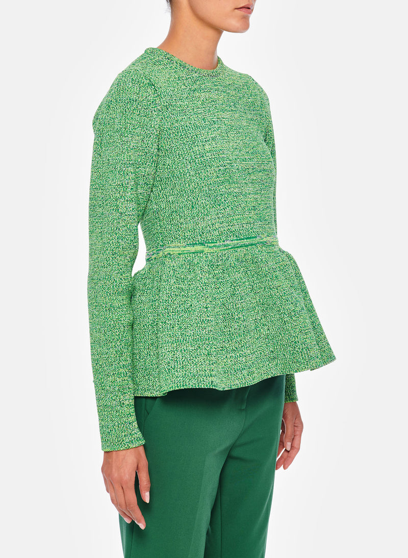 Tech Tweedy Sculpted Peplum Sweater Green Multi-7