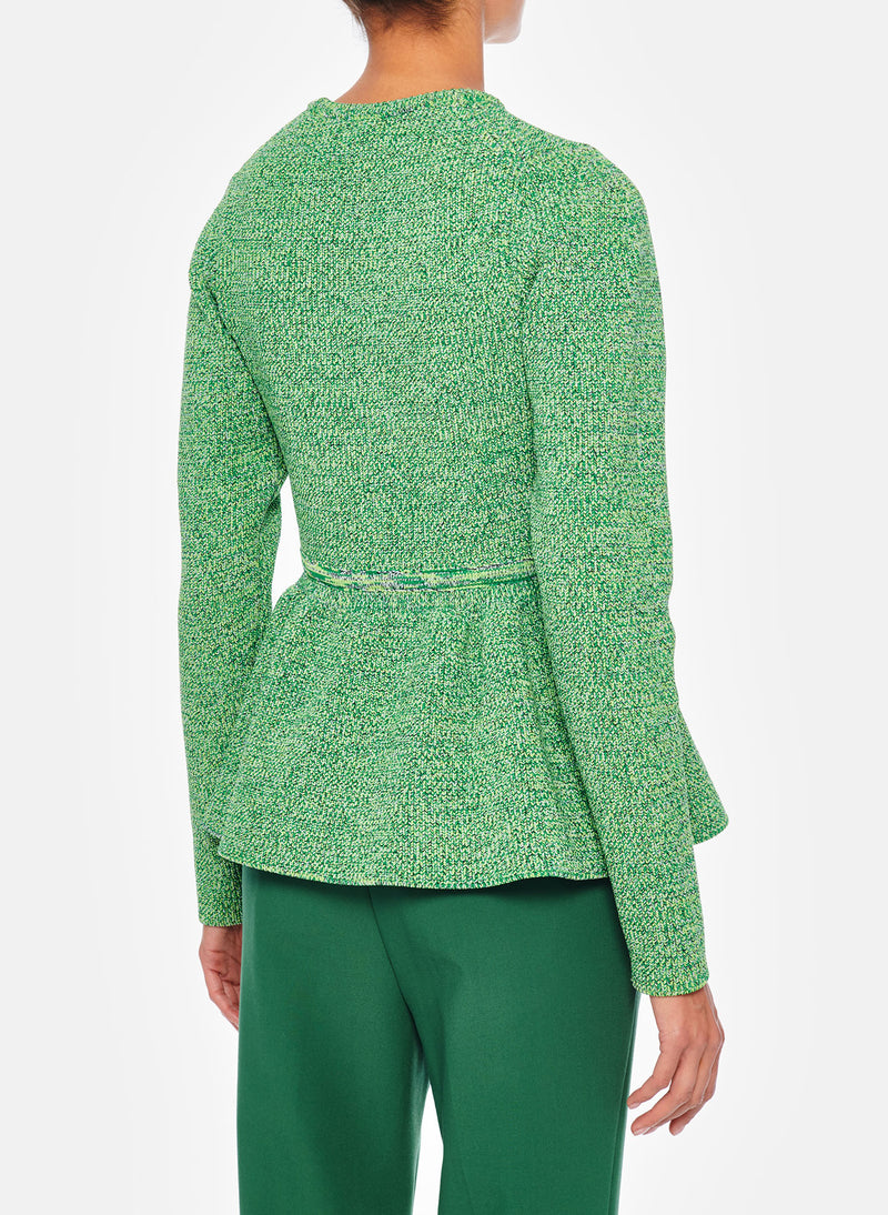 Tech Tweedy Sculpted Peplum Sweater Green Multi-8