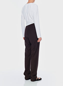 Tropical Wool Sebastian Pant Dark Brown-3