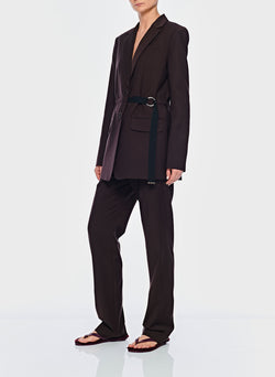Tropical Wool Blazer with Belt Dark Brown-5