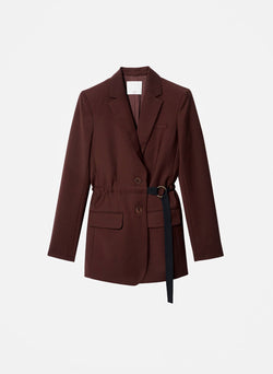 Tropical Wool Blazer with Belt Dark Brown-7