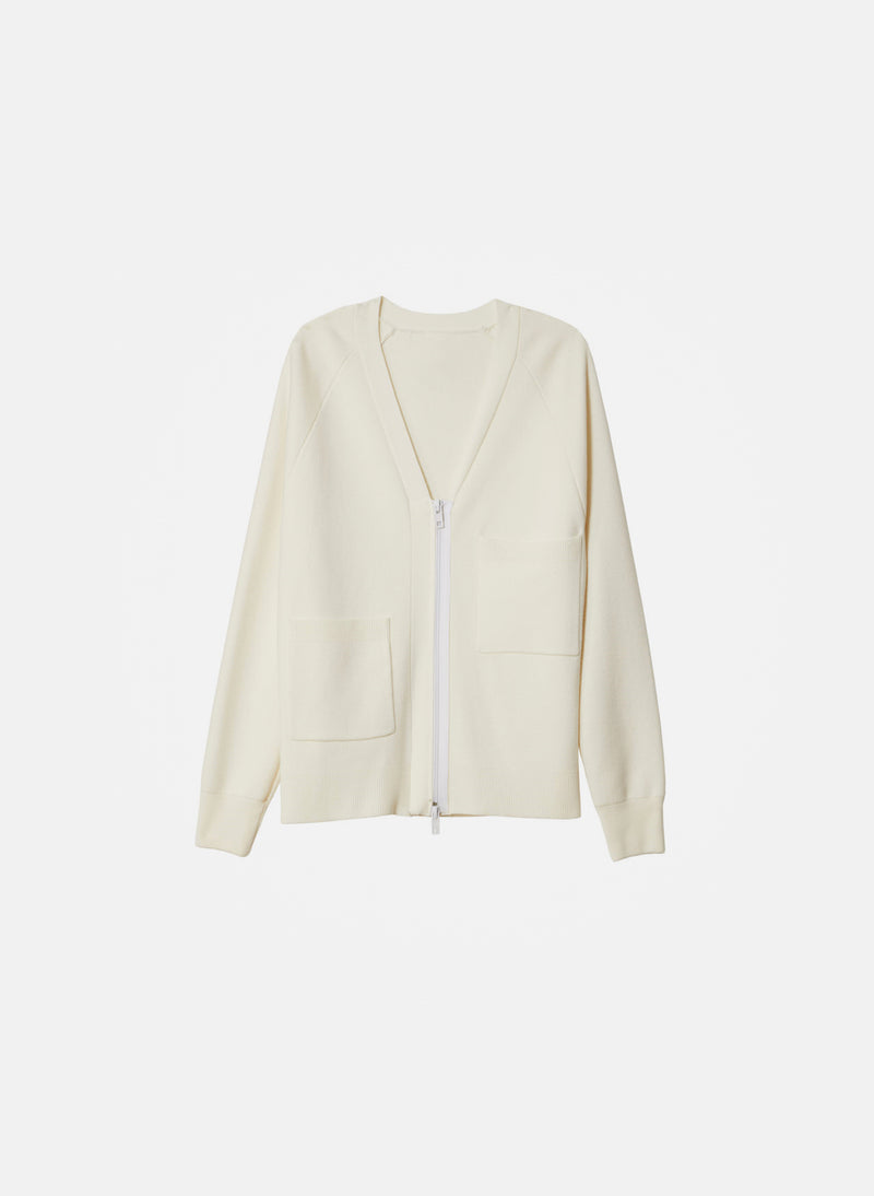 Compact Wool Blend Cardigan Ivory-2