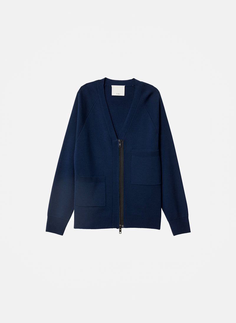 Compact Wool Blend Cardigan Navy-10