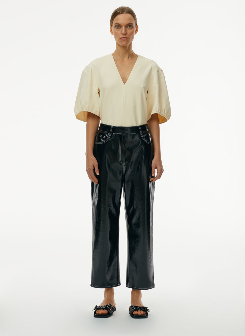 Patent Cropped Carpenter Pant Patent Cropped Carpenter Pant