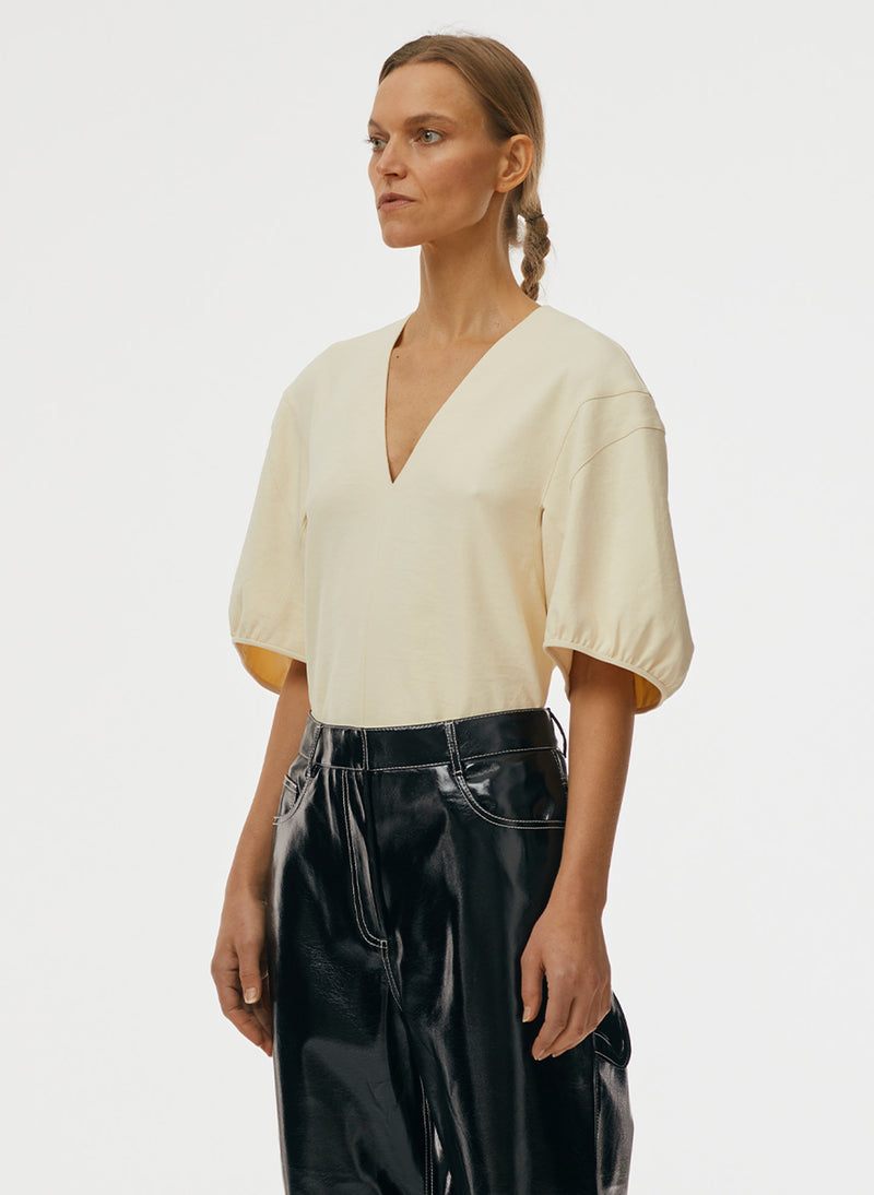 Chalky Drape V-Neck Top Butter-2