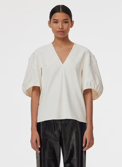 Chalky Drape V-Neck Top Ivory-6