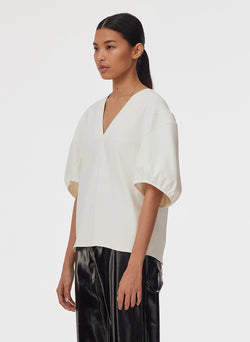 Chalky Drape V-Neck Top Ivory-7