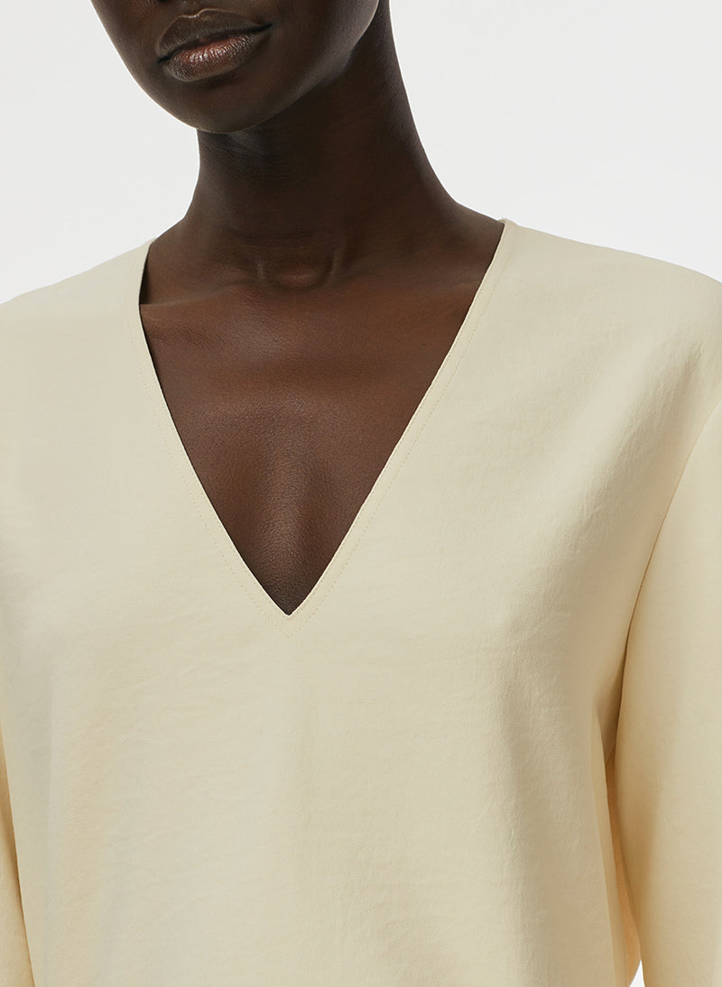 Chalky Drape V-Neck Long Sleeve Top Butter-5