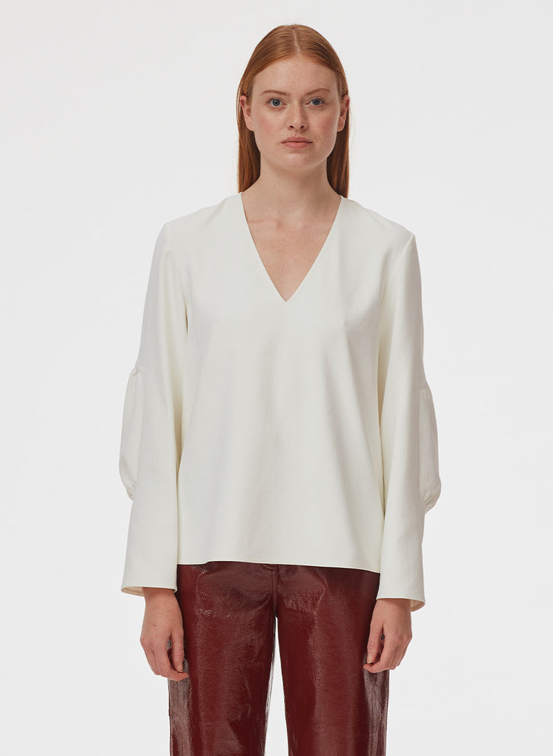 Chalky Drape V-Neck Long Sleeve Top Ivory-6