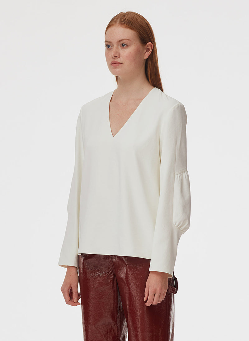 Chalky Drape V-Neck Long Sleeve Top Ivory-7