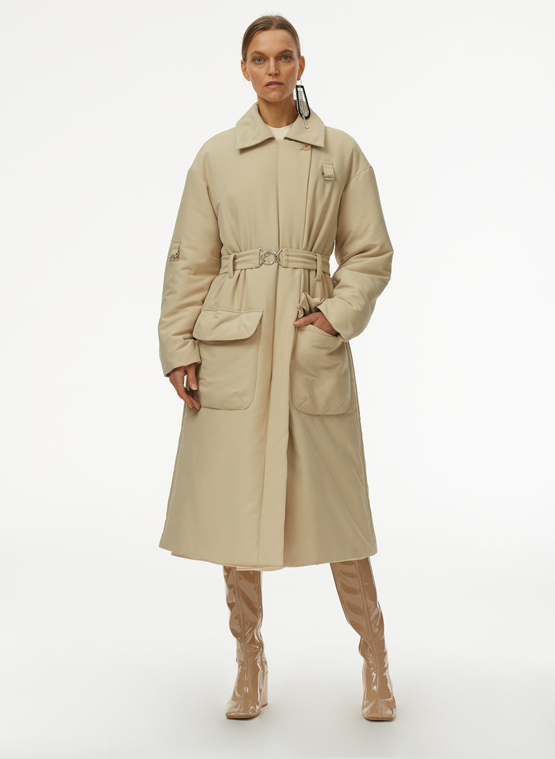 Clyde Padding Trench With Removable Belt Tan-5