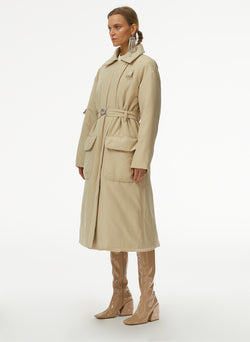Clyde Padding Trench With Removable Belt Tan-2