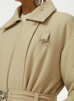Clyde Padding Trench With Removable Belt Tan-4