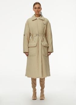 Clyde Padding Trench With Removable Belt Tan-1