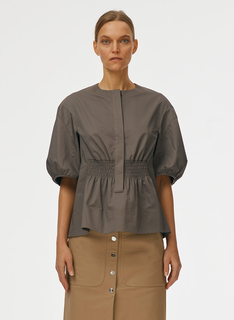 Eco Poplin Sculpted Sleeve Top Eco Poplin Sculpted Sleeve Top