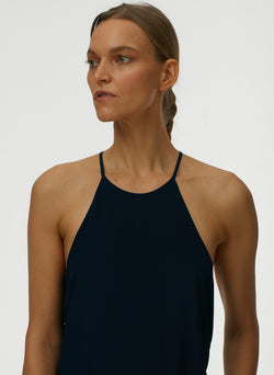 Eco Silk Halter Cami Navy-4