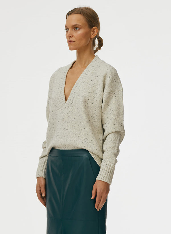 Eco Tweedy Knit Deep V Pullover