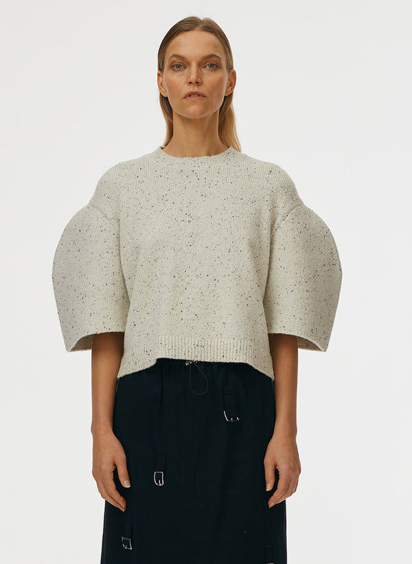 Eco Tweedy Knit Sculpted Sleeve Cropped Pullover