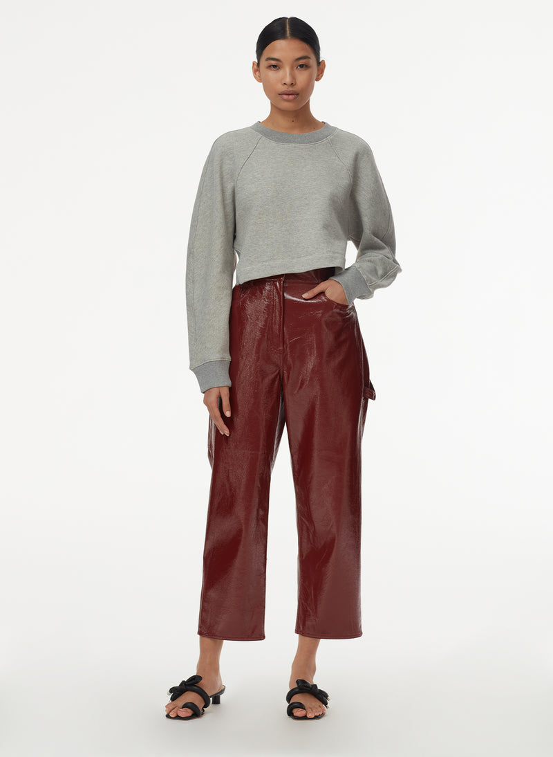 Patent Cropped Carpenter Pant Rusty Brown-7