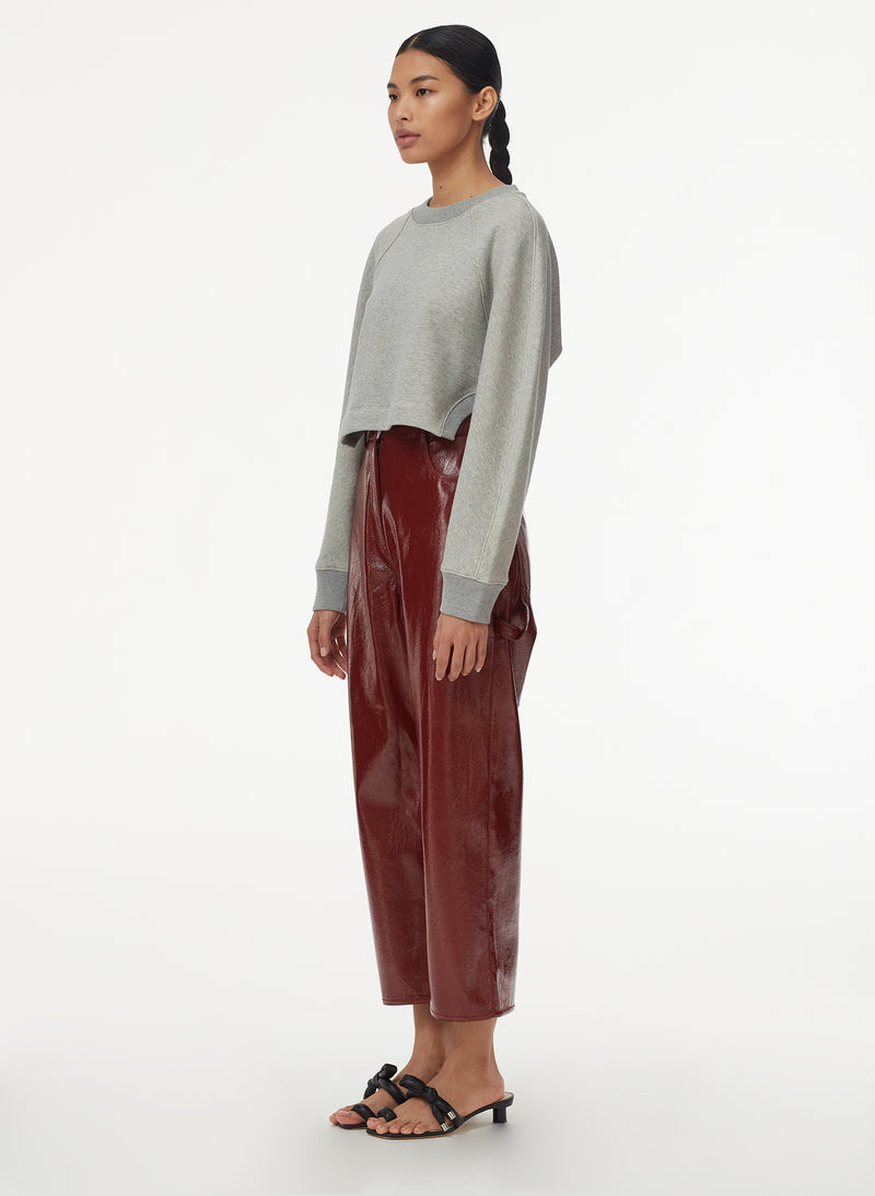 Patent Cropped Carpenter Pant Rusty Brown-8