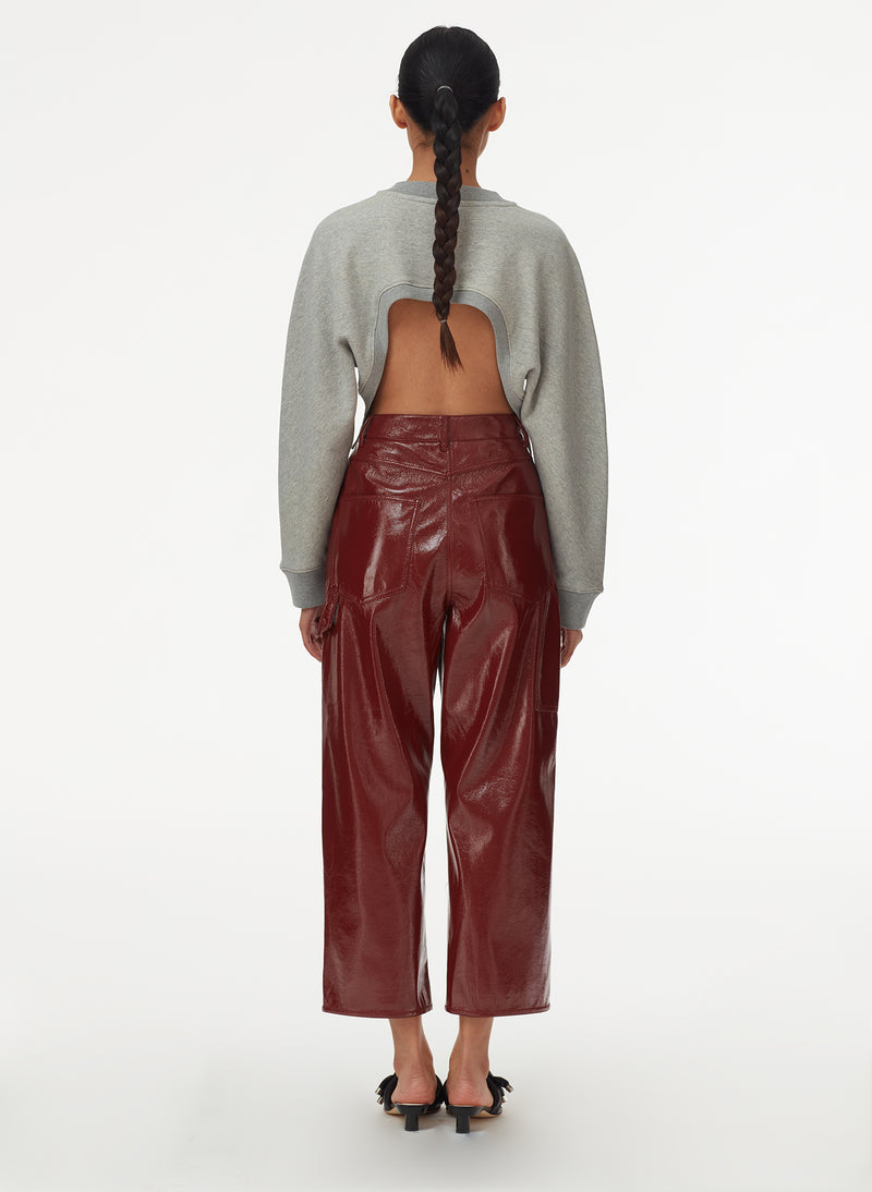Patent Cropped Carpenter Pant Rusty Brown-9